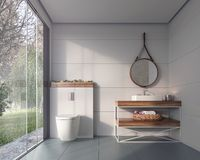 La progettazione moderna del bagno con considera il cortile verde del fogliame fotografia stock libera da diritti