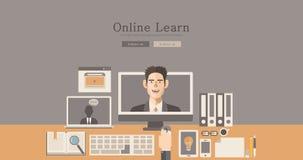 La progettazione moderna e classica online impara l'illustrazione di concetto Immagine Stock