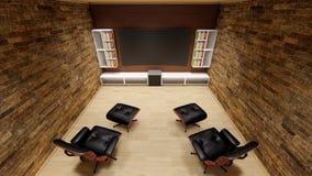La progettazione morbida della casa di spettacolo del uhd 4k del sofà di progettazione del proiettore del teatro domestico TV bel illustrazione di stock