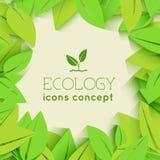 La progettazione piana dell'ecologia, ambiente, verde pulisce Fotografia Stock Libera da Diritti