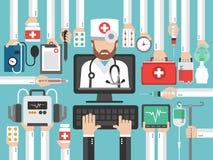 La progettazione piana di chiamata online medica del computer ha messo con medico illustrazione di stock