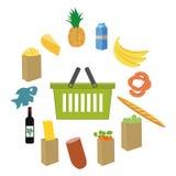 La progettazione piana ha colorato l'illustrazione di vettore dei prodotti alimentare e bevande, concetto per vendita al dettagli Fotografia Stock