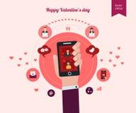 La progettazione piana ha messo per le icone per il giorno di biglietti di S. Valentino Immagini Stock Libere da Diritti