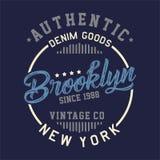 La progettazione segna l'annata con lettere autentica di Brooklyn Immagini Stock Libere da Diritti