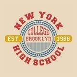 La progettazione segna l'istituto universitario con lettere Brooklyn di New York Immagini Stock