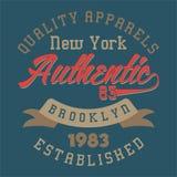 La progettazione segna New York con lettere Brooklyn autentico Fotografia Stock
