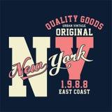 La progettazione segna New York con lettere originale d'annata Immagini Stock