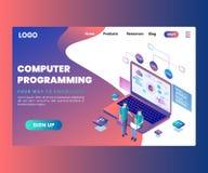 La programmation par ordinateur, où les gens sont font à un appli mobile le concept isométrique d'illustration images libres de droits
