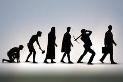 La progressione dell'umanità dell'uomo da antico a moderno fotografia stock libera da diritti