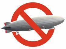 La proibizione del dirigibile enorme dello zeppelin ha riempito di idrogeno Divieto rigoroso di costruzione del pallone di volo illustrazione vettoriale