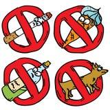 La proibizione doodles i segni illustrazione di stock