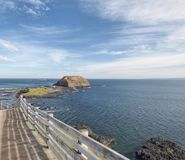 La promenade de touristes Phillip Island d'enceinte et de conseil de Nobbies image stock