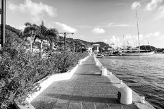 La 'promenade' del lado de mar con las palmas y la floración florece en Francia Imagenes de archivo