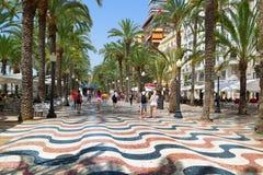 La 'promenade' Explanada de España en Alicante Imágenes de archivo libres de regalías