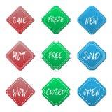 La promoción de venta varios alinea el sistema de etiqueta de la insignia de la etiqueta engomada de la puntada Foto de archivo libre de regalías