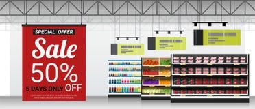 La promoción firma adentro el fondo moderno del supermercado stock de ilustración