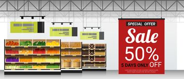 La promoción firma adentro el fondo moderno del supermercado ilustración del vector