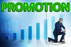 La promotion de pompage d'homme d'affaires dans le concept d'affaires illustration stock