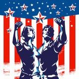 La propaganda del manifesto di rivoluzione del pugno di protesta americana delle donne e degli uomini progetta Immagini Stock