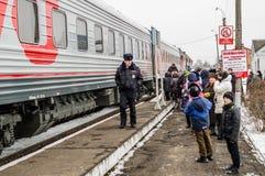 La propaganda rusa El tren ruso de la campaña del partido de oposición LDPR Fotografía de archivo