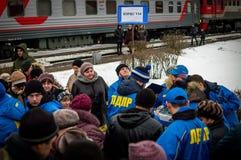 La propaganda rusa El tren ruso de la campaña del partido de oposición LDPR Fotografía de archivo libre de regalías
