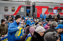 La propaganda russa Il treno russo di campagna del partito di opposizione LDPR Immagini Stock