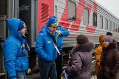 La propaganda russa Il treno russo di campagna del partito di opposizione LDPR Fotografie Stock Libere da Diritti