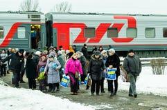 La propaganda russa Il treno russo di campagna del partito di opposizione LDPR Fotografia Stock