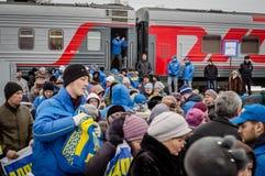 La propagande russe Le train russe de campagne du parti d'opposition LDPR images stock