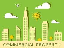 La propiedad comercial representa los edificios Real Estate 3d Illustra Fotografía de archivo