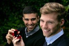 La proposta di impegno fra due omosessuali come un uomo propone con un anello di fidanzamento in scatola rossa fotografia stock