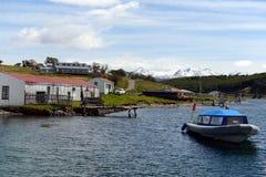 La proprietà di Harberton è la più vecchia azienda agricola di Tierra del Fuego e di un monumento storico importante della region Fotografia Stock
