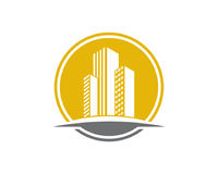 La proprietà di Real Estate ed il logo della costruzione progettano per il segno corporativo di affari Fotografie Stock Libere da Diritti