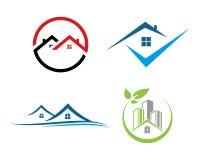 La proprietà di Real Estate ed il logo della costruzione progettano per il segno corporativo di affari immagine stock libera da diritti