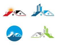 La proprietà di Real Estate ed il logo della costruzione progettano per il segno corporativo di affari immagini stock libere da diritti