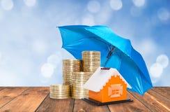 La protección del paraguas acuña ahorros Foto de archivo libre de regalías