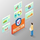 La protección divulga a vector el organigrama isométrico Imagenes de archivo