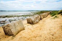 La protection côtière sur le Tidal River et les brise-lames Image stock