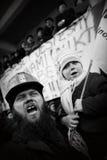 La protesta Acción-de la huelga de mineros silesios Fotografía de archivo