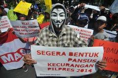 La protesta de la elección de Indonesia Imagen de archivo libre de regalías