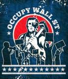 La protesta del manifestante del martillo del trabajador ocupa Wall Street Fotos de archivo libres de regalías
