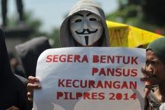 La protesta dell'elezione dell'Indonesia Fotografie Stock Libere da Diritti