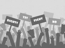 La protesta política con los manifestantes de la silueta da sostener el megáfono ilustración del vector