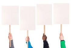 La protestation signe dedans des mains photographie stock libre de droits
