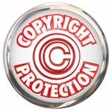 La protezione 3d di Copyright esprime la proprietà intellettuale dell'icona di simbolo Fotografia Stock
