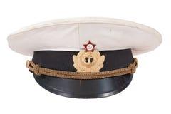 La protezione dell'ufficiale sovietico della marina isolata su un fondo bianco Immagini Stock