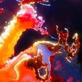La protuberanza bruciante del sole fiammeggia, nuvole rosse di esplosione royalty illustrazione gratis