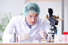La prueba de la sangre en el laboratorio Imágenes de archivo libres de regalías