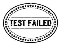 La prueba negra del Grunge falló el sello de goma oval de la palabra en el fondo blanco imagenes de archivo