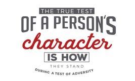 La prueba verdadera de un carácter del ` s de la persona es cómo se colocan durante una prueba de la adversidad ilustración del vector